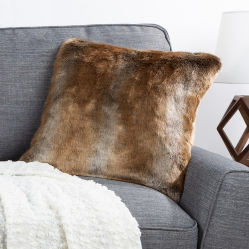"""18"""" Plush Pillow – Ombre Brown Square Accent Pillow Insert and Cover Set – Luxe and Silky Soft for Bedroom or Living Room by Lavish Home"""