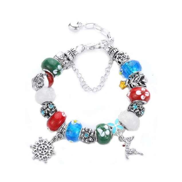 Novadab Silver-Tone Bead Red Nose Reindeer Charms Beaded Bracelet
