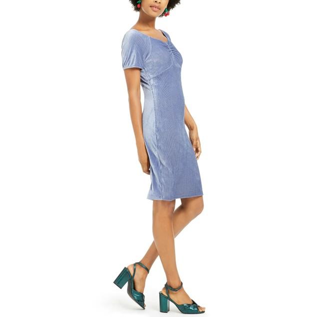 Ultra Flirt Juniors' Corduroy Ruched Bodycon Dress Blue Size Small