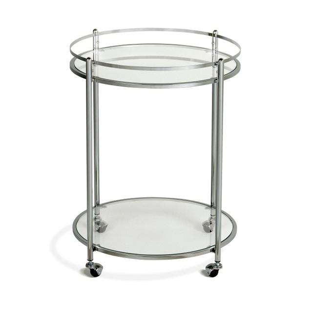 Offex Veranda Round Cart - Chrome/Clear Glass