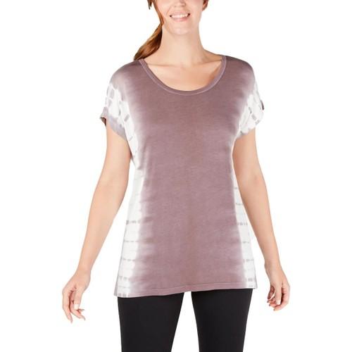 Ideology Women's Wavy Tie-Dyed T-Shirt Violet Stone Size Medium