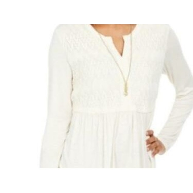 Style & Co Women's Lace-Front Draped Top Ivory Size Extra Large