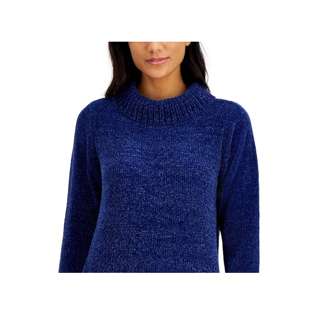 Karen Scott Women's Chenille Mock-Neck Sweater Blue Size Small