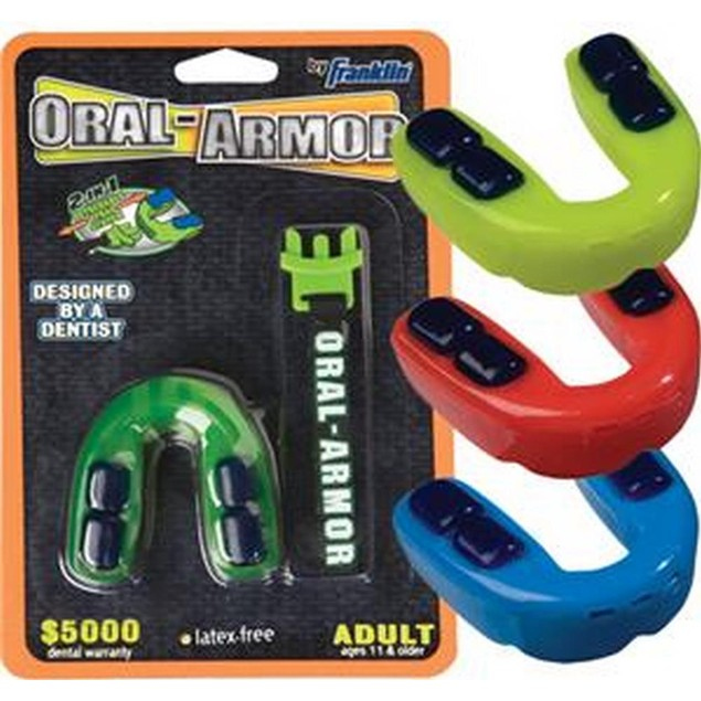 Franklin Unisex Oral Armor 3D Tri Density Mouth Guard Adult Assorted Colors