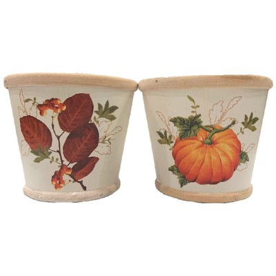 """Homvare 4.5"""" Round Fall Woodchip Pot Cover 2 Assorted Styles"""