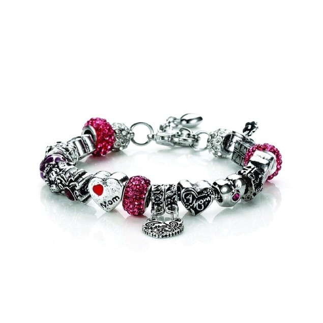 Novadab Mother Love Charm Chain Bracelet Silver Maroon Toned Beads Bracelet