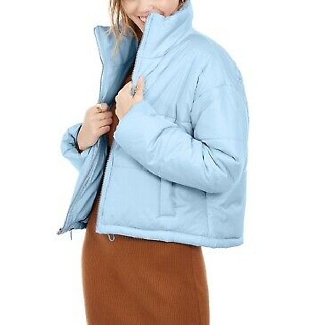 Celebrity Women's Pink Juniors' Cropped Puffer Coat Blue Size XX Large
