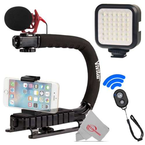 Vivitar Action Sports Grip + Microphone + Remote for Android and Smartphone + LED Video Light