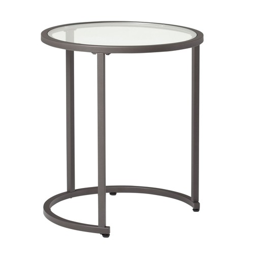 Offex Camber Nesting Table - Pewter/Clear Glass