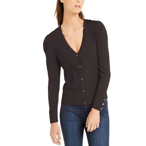INC International Concepts Women's Puff-Sleeve Cardigan Black Size Medium