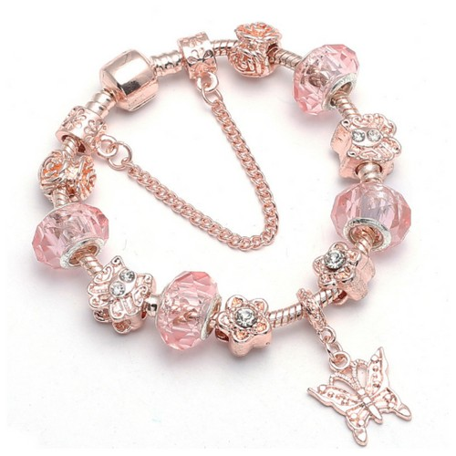 Crystal Murano Butterfly Charm Bracelet
