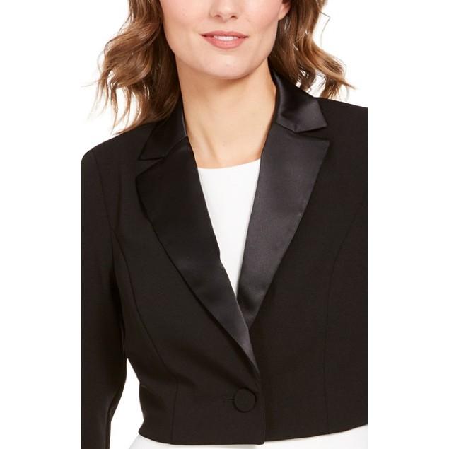 Adrianna Papell Women's Notched-Lapel Bolero Jacket Black Size 00