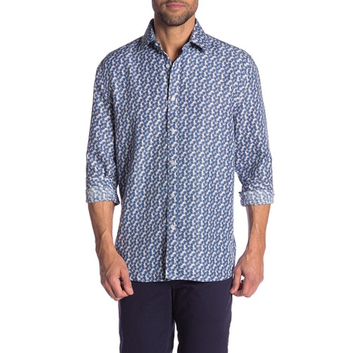 Rosso Milano Modern Fit Long Sleeve Blue Houndstooth Dress Shirt