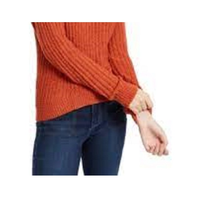 Almost Famous Crave Fame Juniors' Ribbed Cropped Sweater Red Size Large