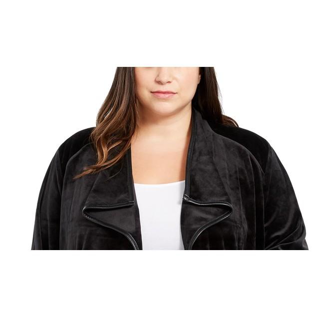 Calvin Klein Women's Contrast Trim Flyaway Jacket Black Size 1X