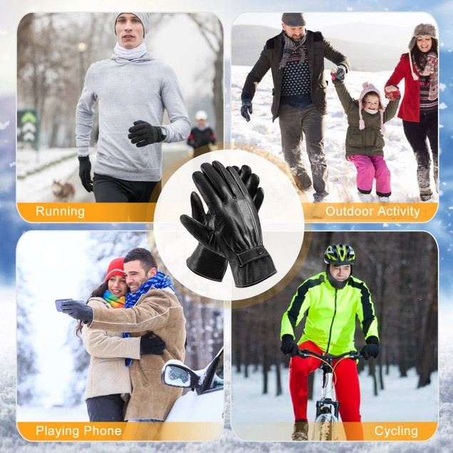Men's Leather Winter Gloves Touchscreen Outdoor Windproof Cycling Skiing Warm Gloves