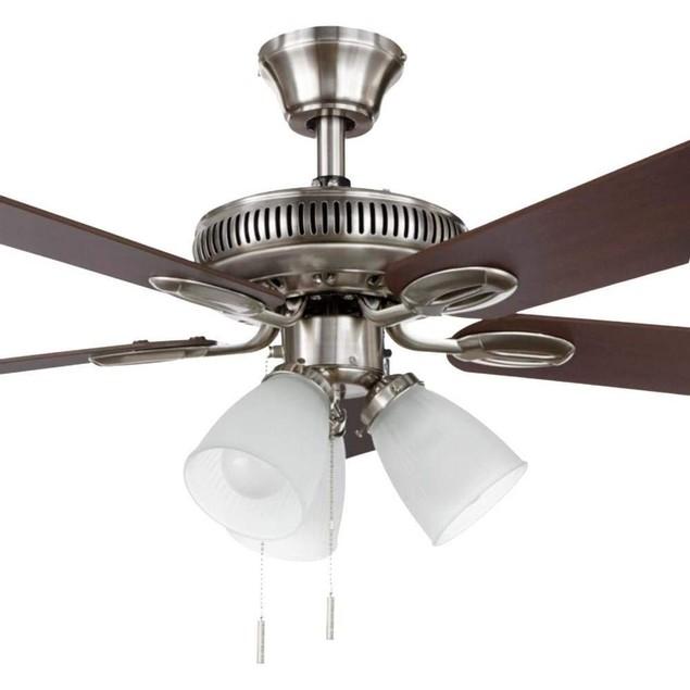 "Hampton Bay Glendale 42"" LED Indoor Brushed Nickel Ceiling Fan with Light"