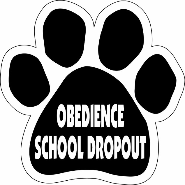 """Obedience School Dropout Paw Magnet Dog Cat 5.5"""" x 5.5"""" Shaped Puppy Kitten"""