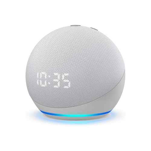 Amazon Echo Dot (4th Gen) Smart speaker w/clock and Alexa - Glacier White