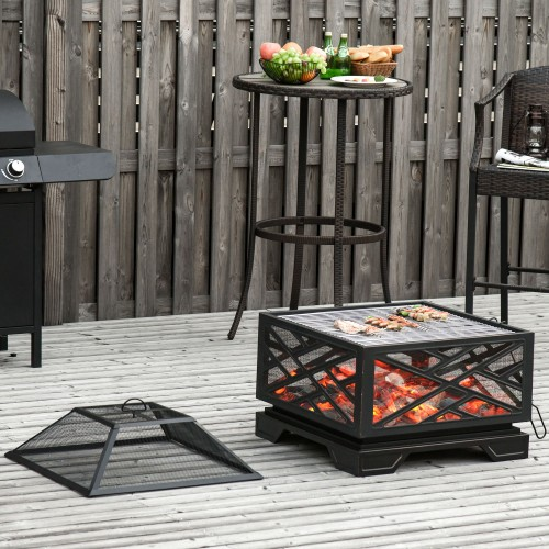 Backyard Patio Metal Wood Bonfire Pit with Stylish Appearance & Poker