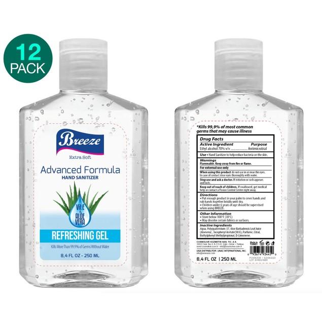 12-Pack Breeze Advanced Formula Hand Sanitizer with Vitamin E & Aloe Vera