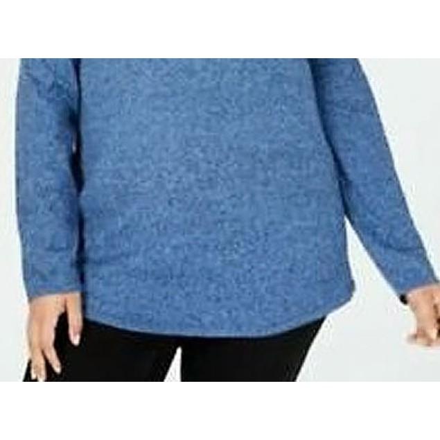 Karen Scott Women's Plus Size Curved Hem Tunic Blue Size Extra Large