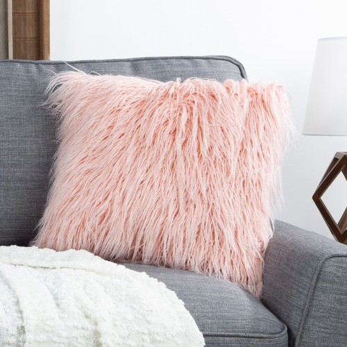 """18"""" Plush Pillow – Luxury Square Accent Pillow Insert and Shag Glam Cover Set – For Bedroom or Living Room by Lavish Home (Pink)"""