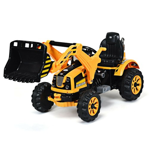 12V Battery Powered Kids Ride On Excavator Truck With Front Loader