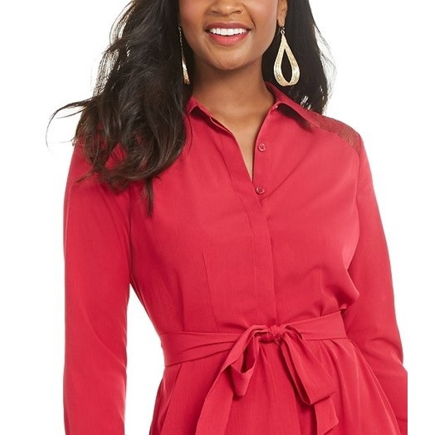 Thalia Sodi Women's Printed Handerkerchief-Hem Shirtdress Pink Size Large