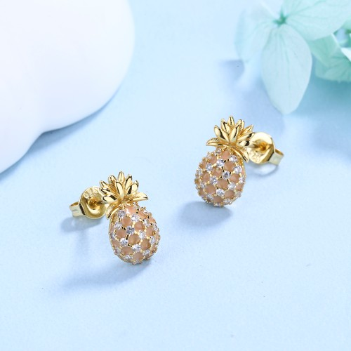 Pineapple Studs with Genuine Crystals  in 18k Gold
