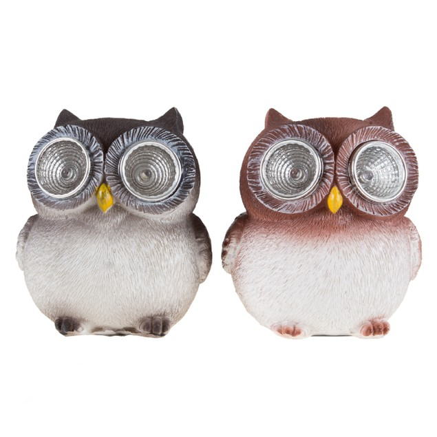 Set of 2 Owls, Solar Indoor Outdoor LED Light  Owl Window Sill