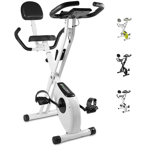 Bigzzia Exercise Bike,Upright and Foldable Stationary Bike with Magnetic Resistance/LCD Monitor/Pulse Sensors