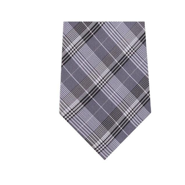 Calvin Klein Men's Classic Plaid Silk Tie Gray Size Regular