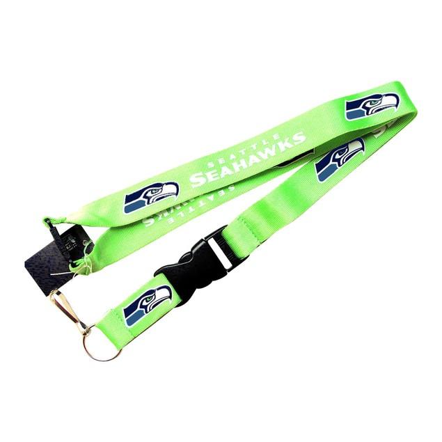 NFL Lanyard Keychain Batch Id Holder Seattle Seahawks Green - Green