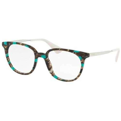 PRADA 13UVF-KJJ1O1 Eyeglasses Striped Grey/Green 52 mm