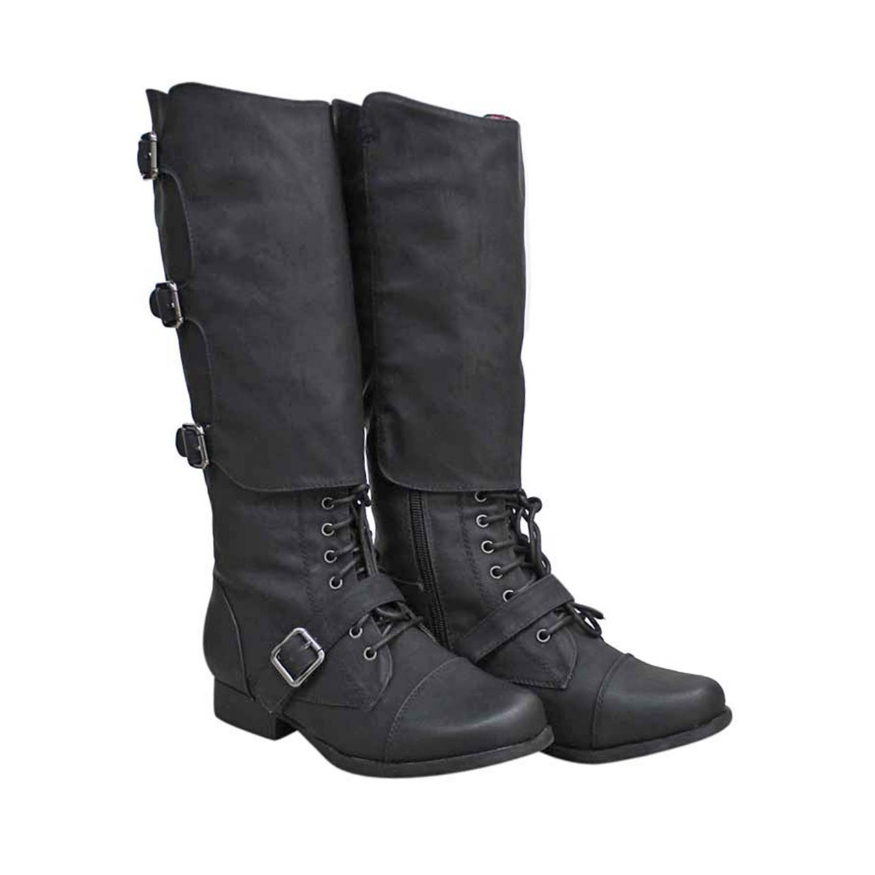 00866f49f77 Womens Black Tall Knee High Combat Boots With Flaps Size 5.5 - Tanga