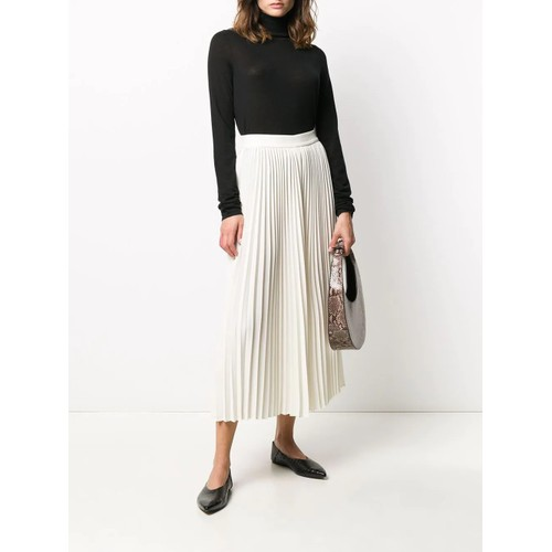 CO Women's Essentials Pleated Midi Skirt White Size Extra Small