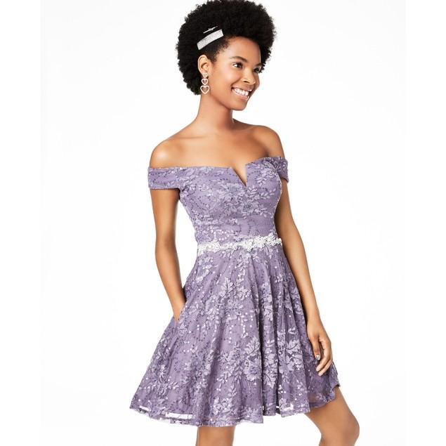 City Studios Juniors' Off-The-Shoulder Lace Fit & Flare Dress Purple Size 1
