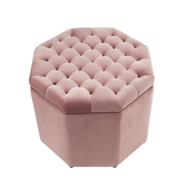 Velvet Storage Ottoman-Upholstered Tufted Octagon Inspired Home
