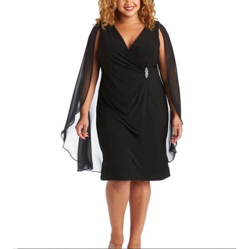 R & M Richards Women's Plus Embellished Chiffon Cape Dress Black Size 20W