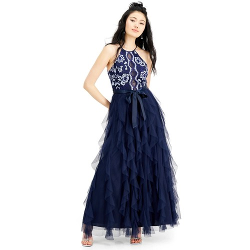 Teeze Me Junior's Embroidered Top Layered Skirt Gown Navy Size 7