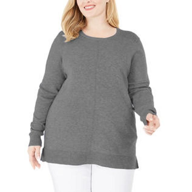 Karen Scott Women's Scoop Neck Seamed Sweater Grey Size 2X