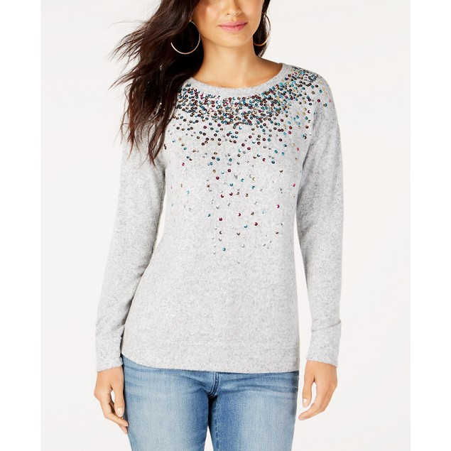 INC International Concepts Women's Sequined Knit Top Gray Size Large