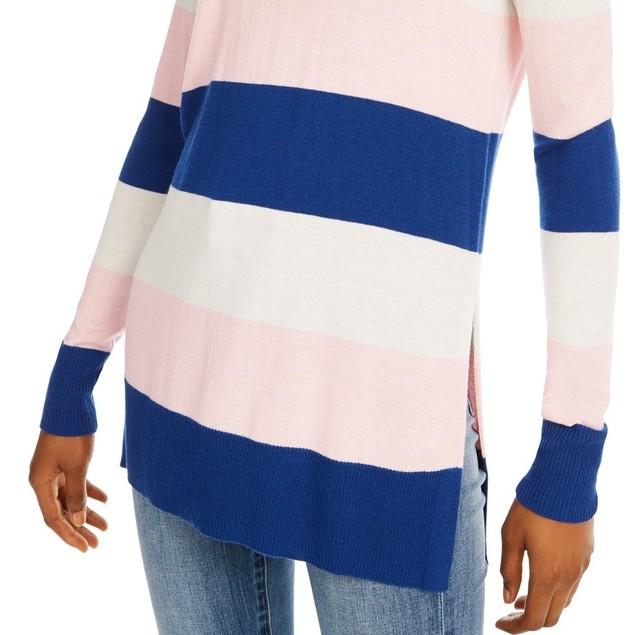 Maison Jules Women's Striped Sweater Blue Size Large