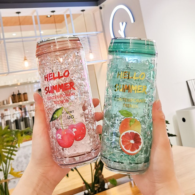 Double-layer Thickened Gel Cup Summer Straw Refrigeration Cold Preservation Cup