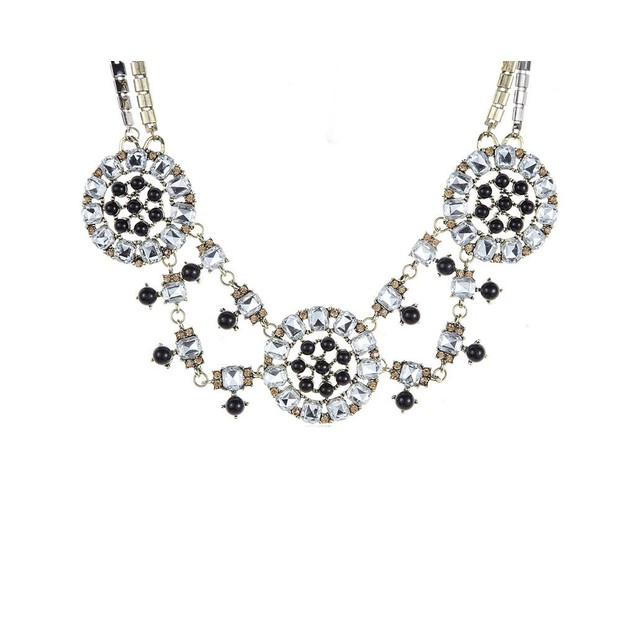 NOVADAB RETRO QUEEN GEOMETRIC CRYSTALS STATEMENT NECKLACE