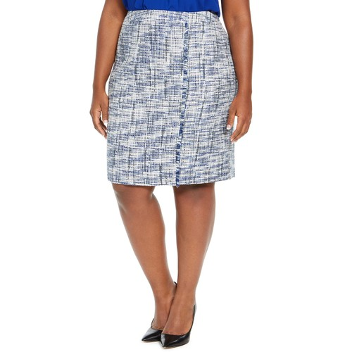 Calvin Klein Women's Tweed Fringe-Trim Pencil Skirt Blue Size 10