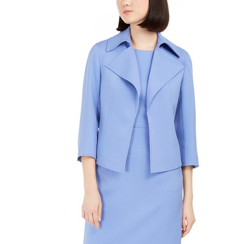 Anne Klein Women's Ridge Crest Wide Collar Twill Jacket Blue Size 4