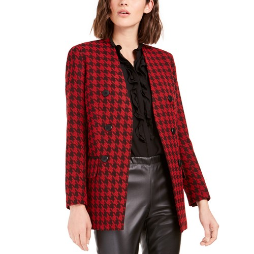 Bar III Women's Houndstooth Collarless Double-Breasted Jacket Red Size 2