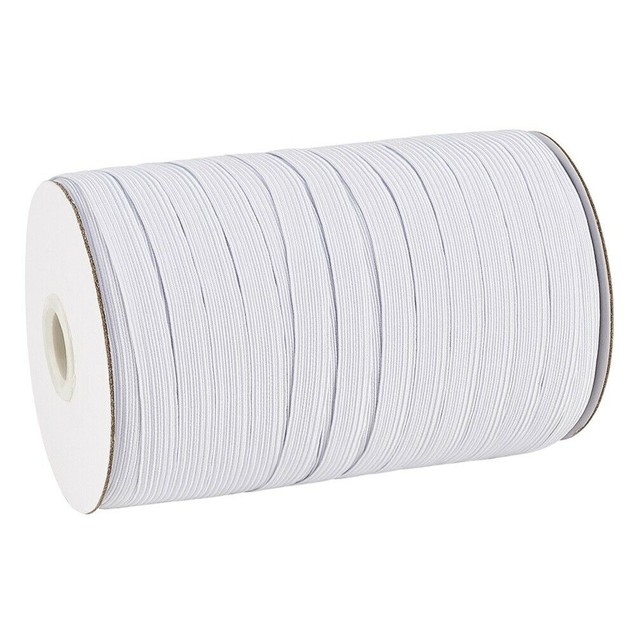 1/4 Inch Elastic Band, 500 Yards Black Sewing Elastic Band/Rope/Cord/String - White